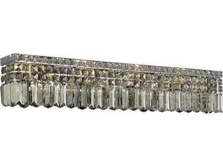 Elegant Lighting Maxim Royal Cut Chrome & Golden Teak Seven-Light Vanity Light EG2032W30CGT