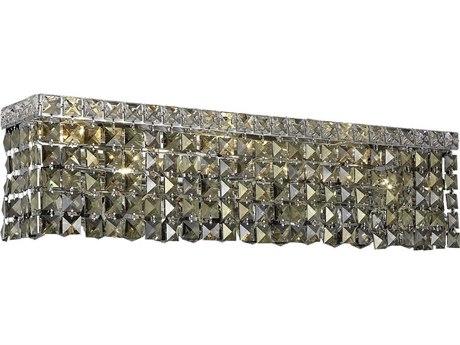 Elegant Lighting Maxim Royal Cut Chrome & Golden Teak Four-Light Vanity Light EG2033W18CGT