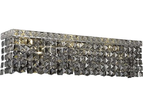 Elegant Lighting Maxim Royal Cut Chrome & Silver Shade Four-Light Vanity Light EG2033W18CSS