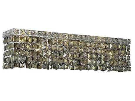Elegant Lighting Maxim Royal Cut Chrome & Golden Teak Six-Light Vanity Light EG2033W26CGT