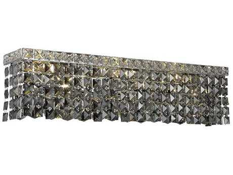 Elegant Lighting Maxim Royal Cut Chrome & Silver Shade Six-Light Vanity Light EG2033W26CSS