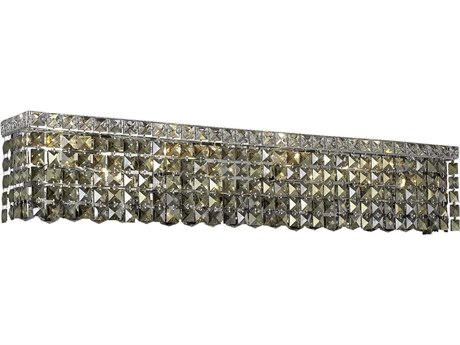 Elegant Lighting Maxim Royal Cut Chrome & Golden Teak Six-Light Vanity Light EG2033W30CGT