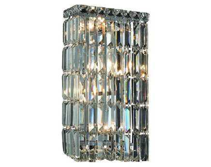 Elegant Lighting Maxim Royal Cut Chrome & Crystal Four-Light Wall Sconce EG2032W8C