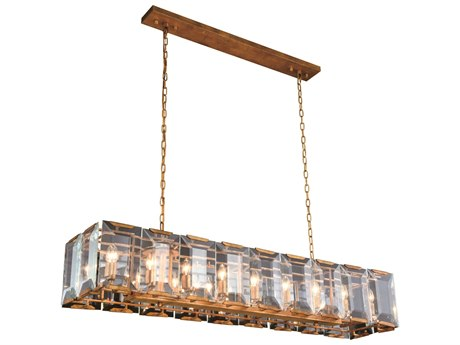 Elegant Lighting Monaco Golden Iron 60'' Wide Glass Island Light EG1212D60GI