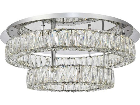 Elegant Lighting Monroe Chrome 26'' Wide LED Semi-Flush Mount Light
