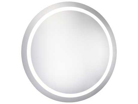 Elegant Lighting Nova Glossy White 30'' Wide 5000K LED Round Wall Mirror EGMRE6005