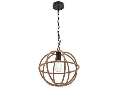 Living District by Elegant Lighting Black & Linen 14'' Wide Pendant Light