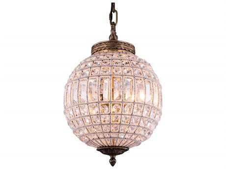 Elegant Lighting Olivia French Gold & Clear Crystal 12'' Wide Pendant Light EG1205D12FG