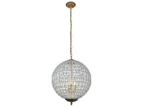 Elegant Lighting Olivia French Gold Crystal Pendant EG1205D18FG