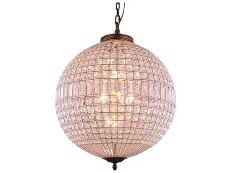 Elegant Lighting Olivia French Gold & Clear Crystal Five-Lights 24.5'' Wide Pendant Light EG1205D24FG