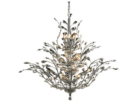 Elegant Lighting Orchid Royal Cut Chrome & Crystal 18-Light 41'' Wide Chandelier EG2011G41C