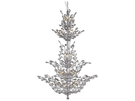 Elegant Lighting Orchid Royal Cut Chrome & Crystal 25-Light 41'' Wide Grand Chandelier EG2011G54C