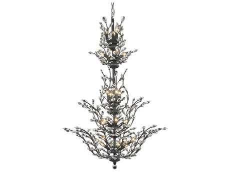 Elegant Lighting Orchid Royal Cut Dark Bronze & Crystal 25-Light 41'' Wide Grand Chandelier EG2011G54DB