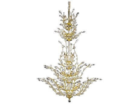 Elegant Lighting Orchid Royal Cut Gold & Crystal 25-Light 41'' Wide Grand Chandelier EG2011G54G