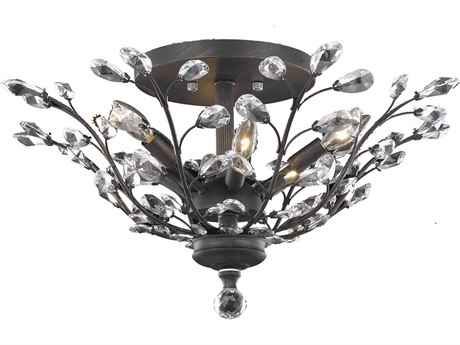 Elegant Lighting Orchid Royal Cut Dark Bronze & Crystal Six-Light 27'' Wide Semi-Flush Mount Light EG2011F27DB