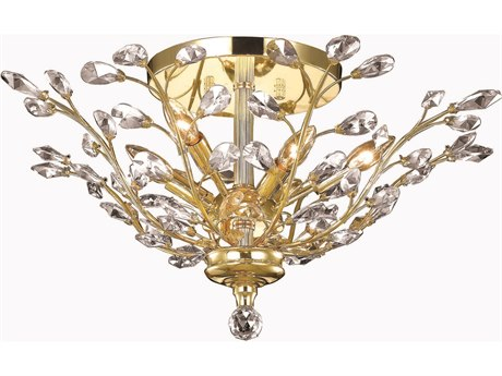 Elegant Lighting Orchid Royal Cut Gold & Crystal Six-Light 27'' Wide Semi-Flush Mount Light EG2011F27G