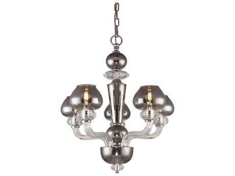 Elegant Lighting Prescott Silver Shade Five-Light 22'' Wide Mini Chandelier