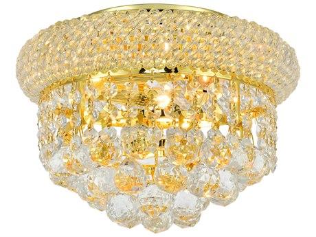 Elegant Lighting Primo Royal Cut Gold & Crystal Three-Light 10'' Wide Flush Mount Light EG1800F10G