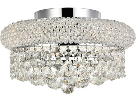 Elegant Lighting Primo Royal Cut Chrome & Crystal Four-Light 12'' Wide Flush Mount Light EG1800F12C