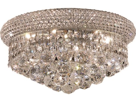 Elegant Lighting Primo Royal Cut Chrome & Crystal Six-Light 14'' Wide Flush Mount Light EG1800F14C