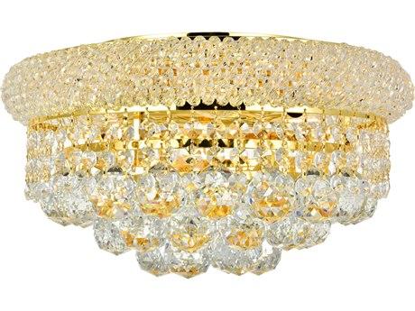 Elegant Lighting Primo Royal Cut Gold & Crystal Six-Light 14'' Wide Flush Mount Light EG1800F14G