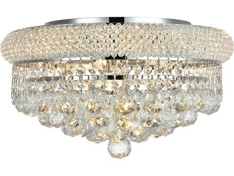 Elegant Lighting Primo Royal Cut Chrome & Crystal Eight-Light 16'' Wide Flush Mount Light EG1800F16C