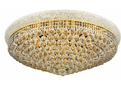 Elegant Lighting Primo Royal Cut Gold & Crystal 20-Light 36'' Wide Flush Mount Light EG1800F36G