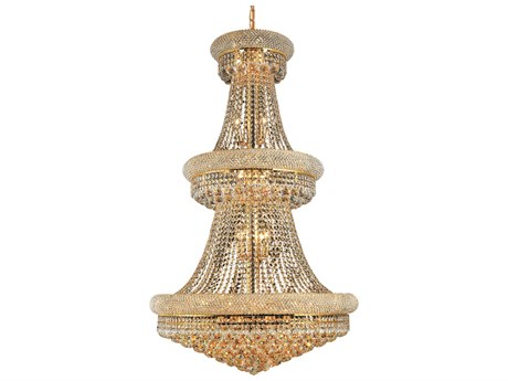 Elegant Lighting Primo Royal Cut Gold & Crystal 32-Light 30'' Wide Grand Chandelier EG1800G30G