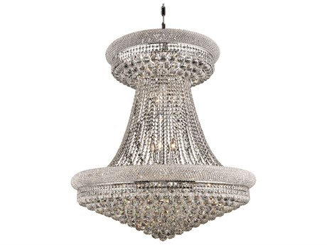 Elegant Lighting Primo Royal Cut Chrome & Crystal 28-Light 36'' Wide Grand Chandelier EG1800G36SC