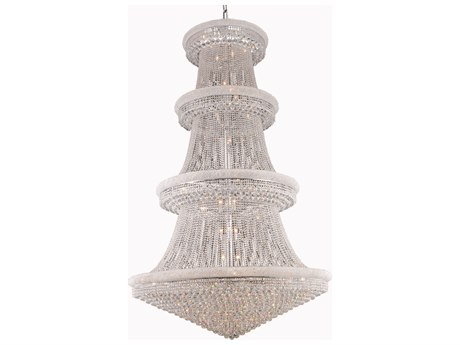 Elegant Lighting Primo Royal Cut Chrome & Crystal 56-Light 62'' Wide Grand Chandelier EG1800G62C