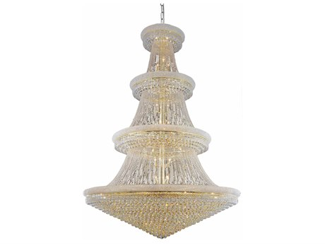 Elegant Lighting Primo Royal Cut Gold & Crystal 66-Light 72'' Wide Grand Chandelier EG1800G72G