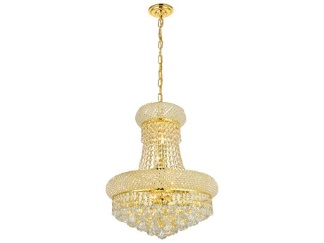 Elegant Lighting Primo Royal Cut Gold & Crystal Eight-Light 16'' Wide Mini Chandelier EG1800D16G