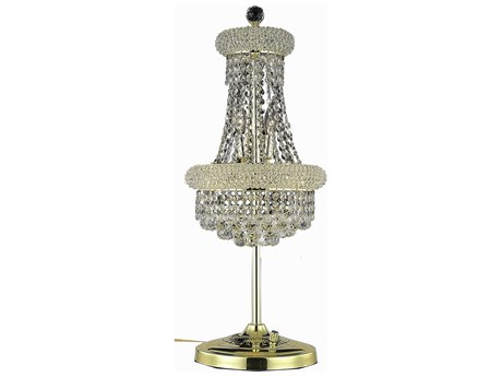 Elegant Lighting Primo Royal Cut Gold & Crystal Six-Light Table Lamp EG1800TL12G