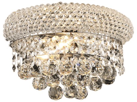 Elegant Lighting Primo Royal Cut Chrome & Crystal Two-Light Wall Sconce EG1800W12C