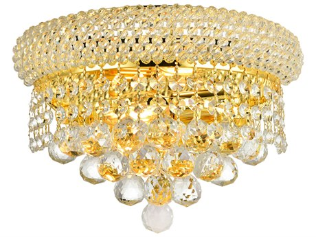 Elegant Lighting Primo Royal Cut Gold & Crystal Two-Light Wall Sconce EG1800W12G
