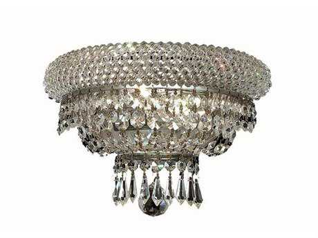Elegant Lighting Primo Royal Cut Chrome & Crystal Two-Light Wall Sconce EG1803W12C