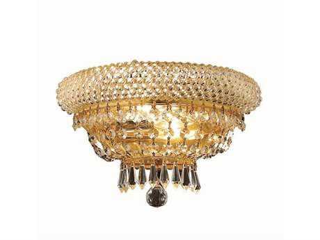 Elegant Lighting Primo Royal Cut Gold & Crystal Two-Light Wall Sconce EG1803W12G