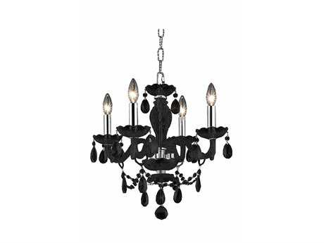 Elegant Lighting Princeton Royal Cut Black & Jet Black Four-Light 17'' Wide Mini Chandelier
