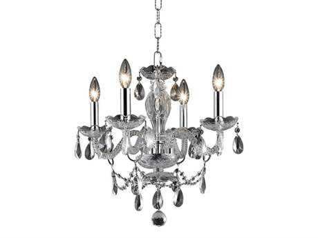 Elegant Lighting Princeton Royal Cut Chrome & Crystal Four-Light 17'' Wide Mini Chandelier