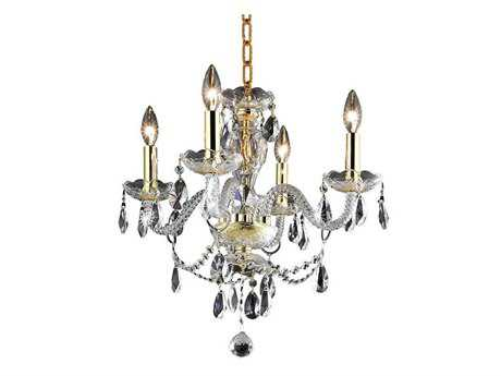 Elegant Lighting Princeton Royal Cut Gold & Crystal Four-Light 17'' Wide Mini Chandelier