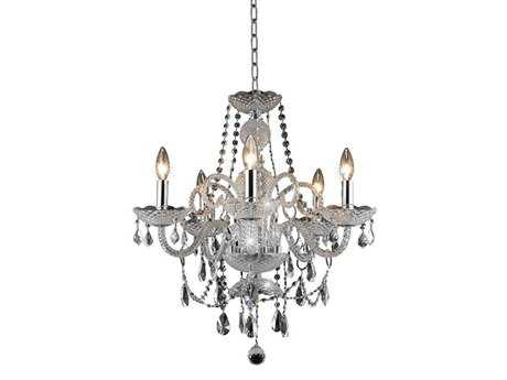 Elegant Lighting Princeton Royal Cut Chrome & Crystal Five-Light 20'' Wide Mini Chandelier