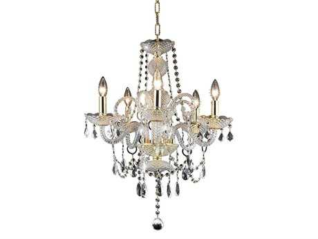 Elegant Lighting Princeton Royal Cut Gold & Crystal Five-Light 20'' Wide Mini Chandelier