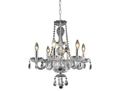 Elegant Lighting Princeton Royal Cut Chrome & Crystal Six-Light 20'' Wide Mini Chandelier
