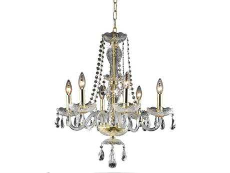 Elegant Lighting Princeton Royal Cut Gold & Crystal Six-Light 20'' Wide Mini Chandelier