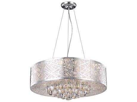 Elegant Lighting Prism Royal Cut Chrome & Crystal Nine-Light 24'' Wide Pendant