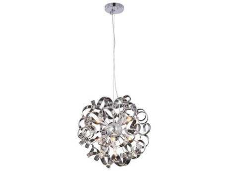 Elegant Lighting Ritz Chrome Seven-Light 18'' Wide Pendant Light