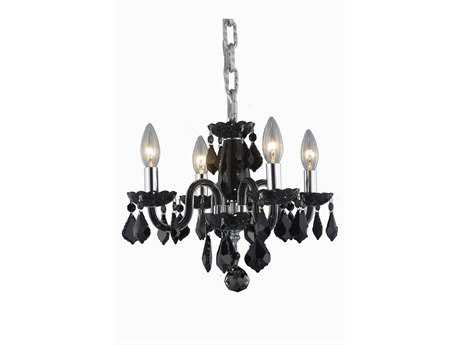 Elegant Lighting Rococo Royal Cut Black & Jet Four-Light 15'' Wide Mini Chandelier EG7804D15BJT