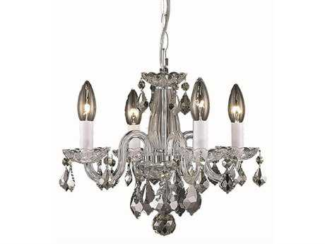 Elegant Lighting Rococo Royal Cut Chrome & Crystal Four-Light 15'' Wide Mini Chandelier EG7804D15C