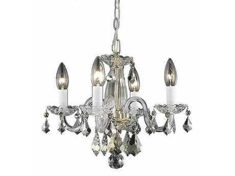 Elegant Lighting Rococo Royal Cut Gold & Crystal Four-Light 15'' Wide Mini Chandelier