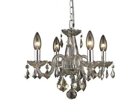 Elegant Lighting Rococo Royal Cut Golden Teak Four-Light 15'' Wide Mini Chandelier